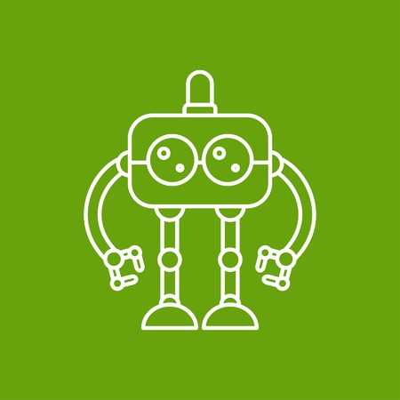 robot toy: Vector outline retro robot toy icon on color background Illustration