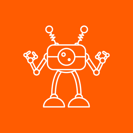 retro robot: Vector outline retro robot toy icon on color background Illustration