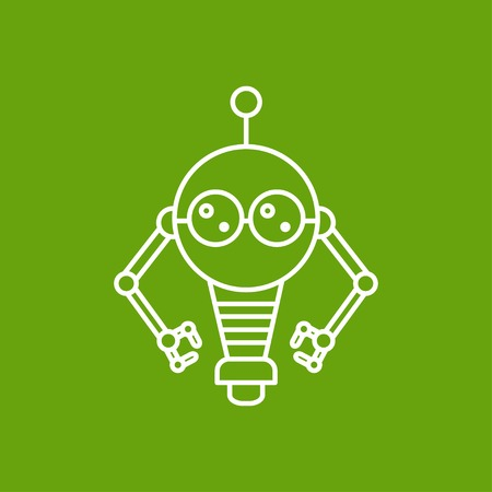 electronics icons: Vector outline retro robot toy icon on color background Illustration
