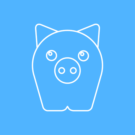 oink: Vector outline pig icon on color background