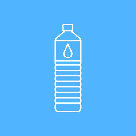 purify: Vector outline water bottle on color background Illustration