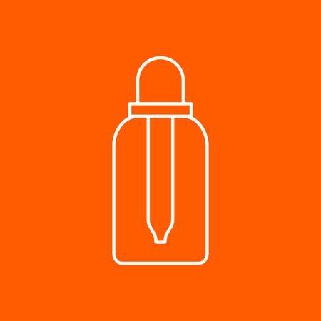 boticário: Vector outline dropper bottle on color background. Health icon