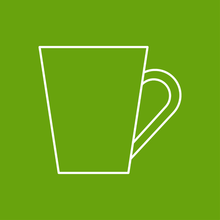 dine: Vector outline cup for tea or coffee icon on color background Illustration