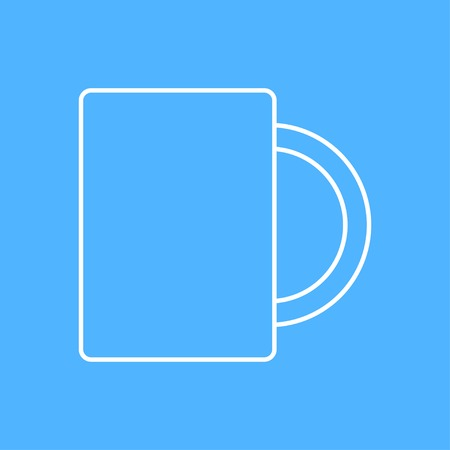 sign holder: Vector outline cup for tea or coffee icon on color background Illustration