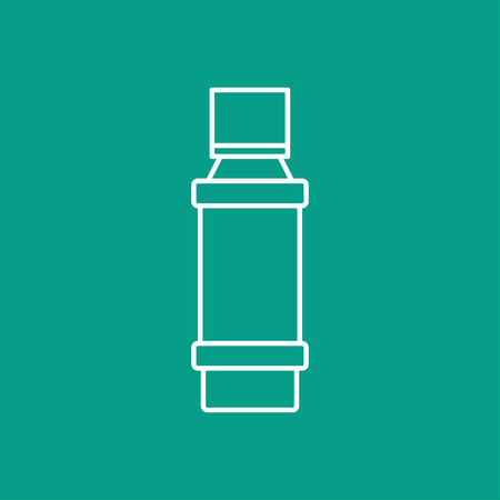 flavoring: Vector outline flavoring bottle on color background . Kitchen icon Illustration