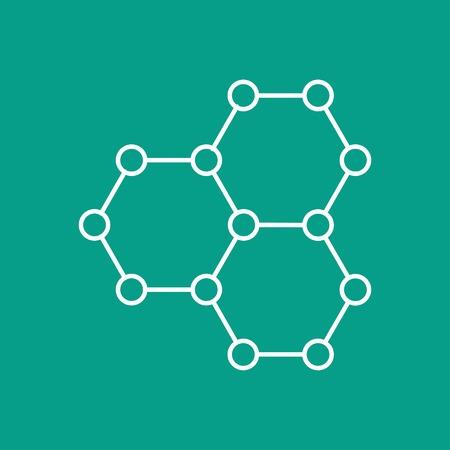 graphene: Vector outline graphene icon on color background . Science illustration