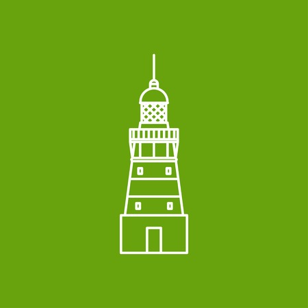 lighthouse keeper: Vector outline lighthouse icon on color background Illustration