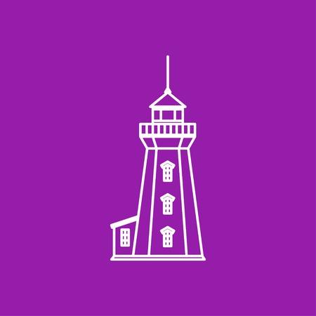 hope symbol of light: Vector outline lighthouse icon on color background Illustration