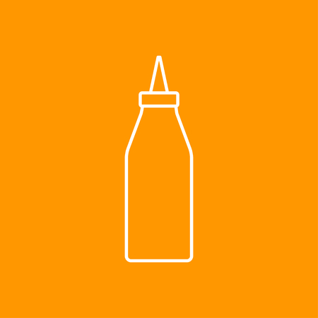 catsup bottle: Vector outline bottle with ketchup icon on color background