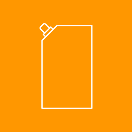mayonnaise: Vector outline mayonnaise plastic package icon on color background