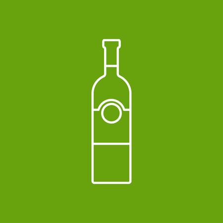 unopened: Vector outline vine bottle template on color background