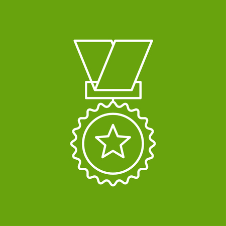 conquering: Vector outline medal icon on color background . Winner award Illustration