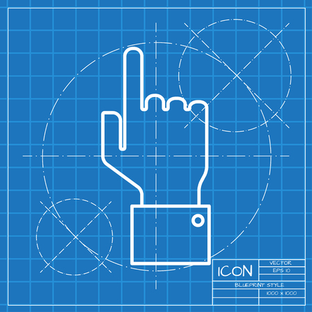 help section: Vetor classic blueprint of hand pointer icon on engineer and architect background