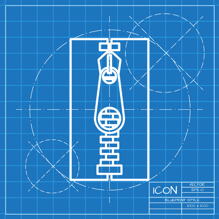 parting: Vector classic blueprint of tailor zipper icon on engineer and architect background Illustration