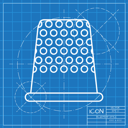 sewing supplies: Vector classic blueprint of tailor thimble for finger icon on engineer and architect background Illustration