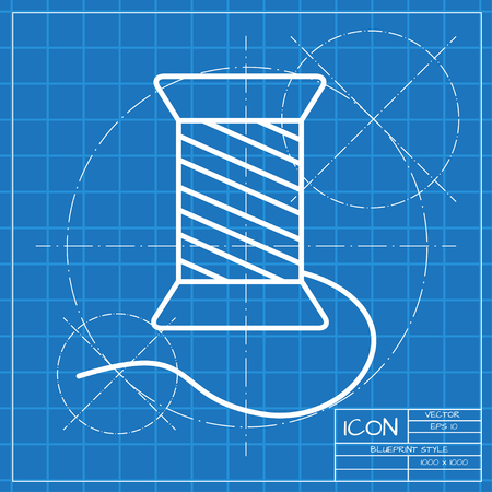 bobbin: Vector classic blueprint of tailor thread bobbin icon on engineer and architect background