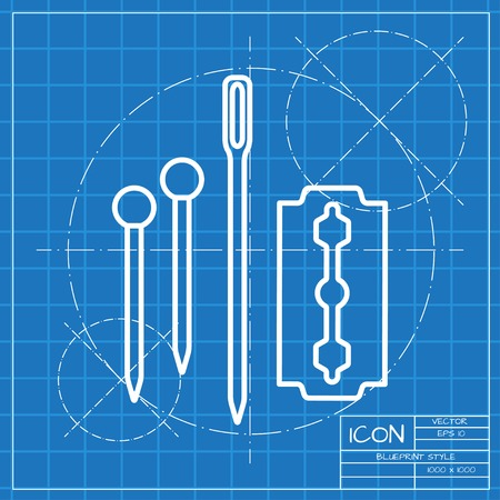 cuff links: Vector classic blueprint of tailor pins needle blade icon on engineer and architect background