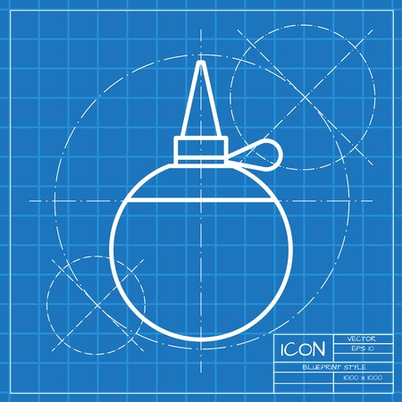 oilcan: Vector classic blueprint of tailor oiler icon on engineer and architect background
