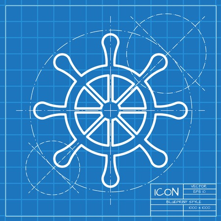 piloting: Vector classic blueprint of steering wheel icon on engineer and architect background