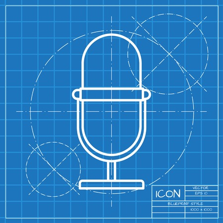 entertaining presentation: Vector classic blueprint of retro microphone icon on engineer and architect background