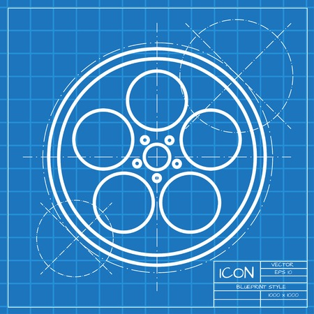 bobbin: Vector classic blueprint of retro bobbin icon on engineer and architect background