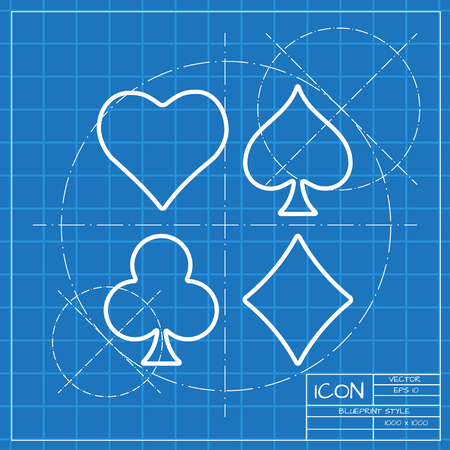 black jack: Vector classic blueprint of game casino cards suit icon on engineer and architect background