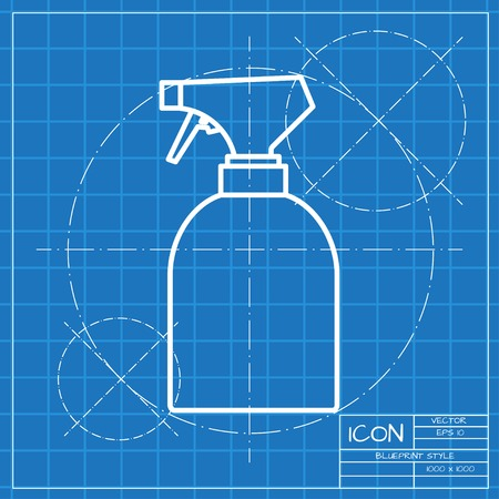 packaging equipment: Vector classic blueprint of sprayer bottle on engineer and architect background Illustration