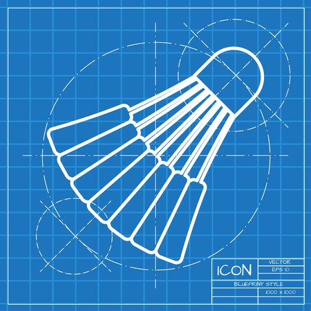 cross match: Vector classic blueprint of simple badminton icon on engineer and architect background