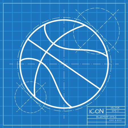 blueprint: Vector classic blueprint of basketball icon on engineer and architect background