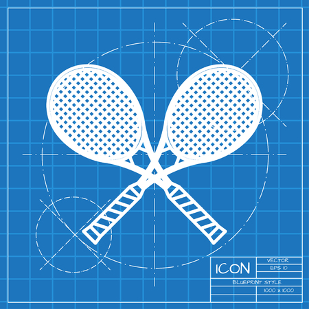 Vector classic blueprint of tennis rackets icon on engineer and architect background