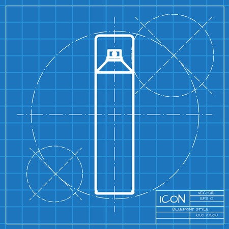freshener: Vector classic blueprint of air freshener aerosol bottle on engineer and architect background