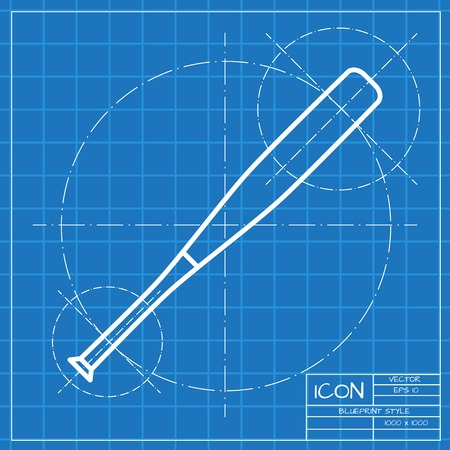 homerun: Vector classic blueprint of baseball bat icon on engineer and architect background Illustration