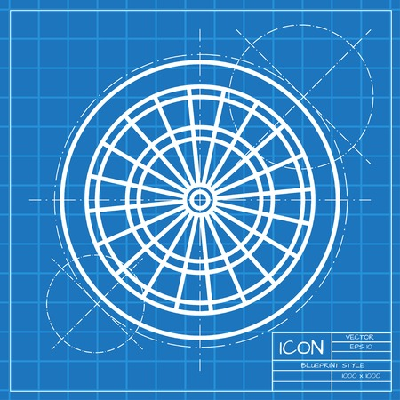 target: Vector classic blueprint of target icon on engineer and architect background