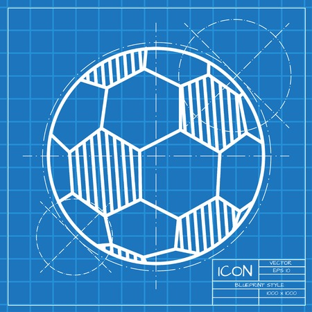 nfl: Vector classic blueprint of football icon on engineer and architect background