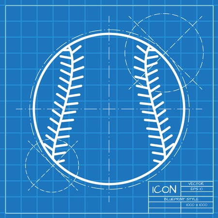 baseball ball: Vector classic blueprint of baseball icon on engineer and architect background