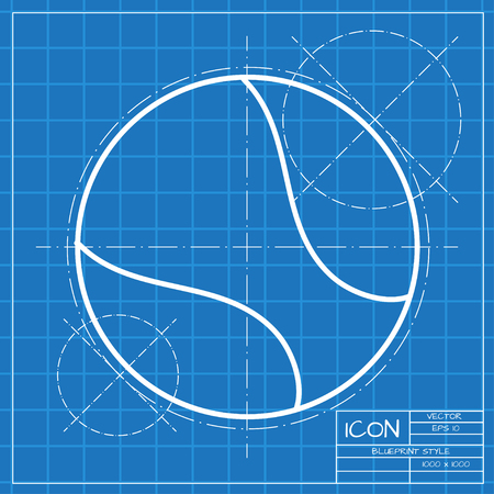 tennisball: Vector classic blueprint of tennis ball icon on engineer and architect background Illustration