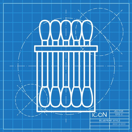 absorbent: Vector classic blueprint of cotton swabs icon on engineer and architect background Illustration