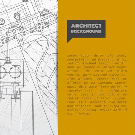 the brochure: Vector blueprint t�cnica de mecanismo. Ilustraci�n ingeniero. Conjunto de plantillas de identidad corporativa. Ilustraci�n del vector.