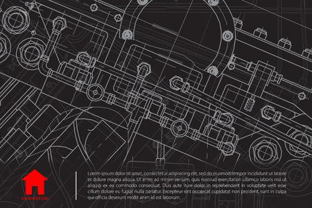 Vector blueprint técnica de mecanismo. Ilustración ingeniero. Fondo Arquitecto