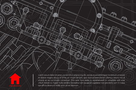 technical: Vector technical blueprint of mechanism. Engineer illustration.  Architect background