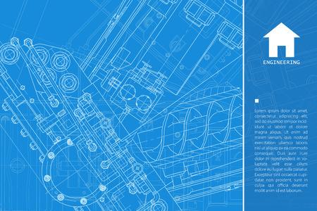 Vector technische blauwdruk van het mechanisme. Ingenieur illustratie. Achtergrond architect Stock Illustratie