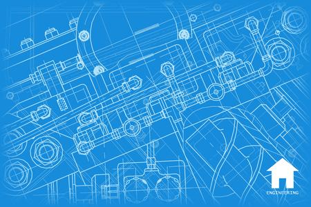 arquitecto: Vector blueprint técnica de mecanismo. Ilustración ingeniero. Fondo Arquitecto