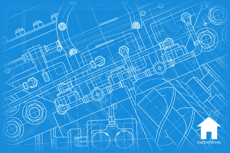 architect: Vector technical blueprint of mechanism. Engineer illustration.  Architect background