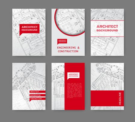 arquitecto: Vector blueprint técnica de mecanismo. Ilustración ingeniero. Conjunto de plantillas de identidad corporativa. Ilustración del vector.