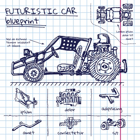car engine: doodle futuristic car scheme in exercise book
