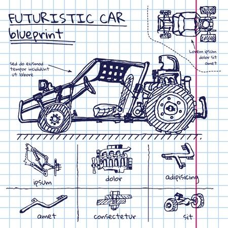 doodle futuristische autoregeling in oefenboek Stock Illustratie