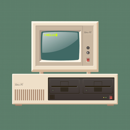 personal data: computadora personal de la vendimia Vectores