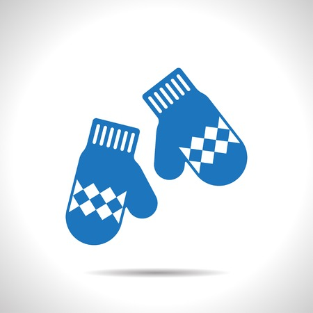 mittens: Vector christmas icon. New year illustration. Mittens