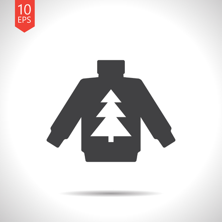 hoody: Vector christmas icon. New year illustration. Pullover with christmas tree