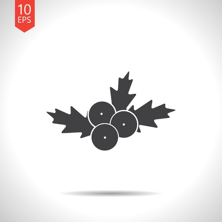 aquifolium: Vector christmas icon. New year illustration. Hooly berry Illustration